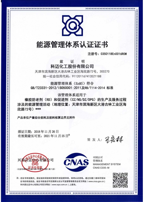 科迈化工能源管理体系认证证书